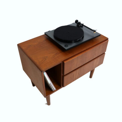 Danish teak record cabinet printer stand nighstand