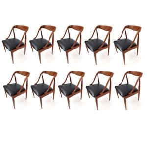 Set of 10 Johannes Andersen for Uldum Mobelfabrik Danish Teak Dining Chairs