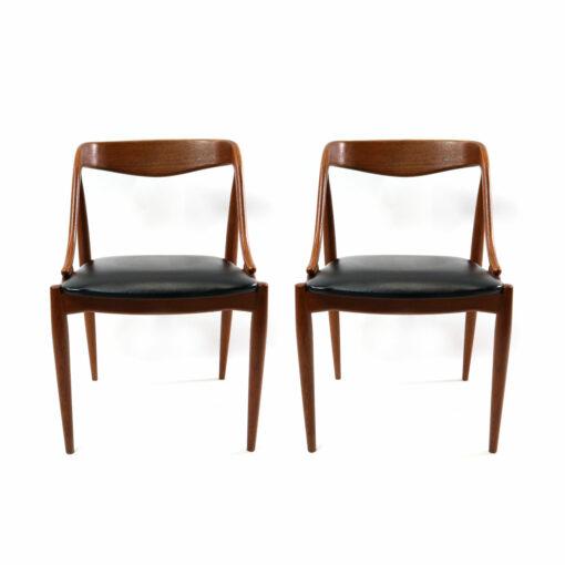 Johannes Andersen for Uldum Mobelfabrik set of 10 vintage 1960s Danish teak dining chairs. Exquisite mid-century modern design on beautifully aged teak.