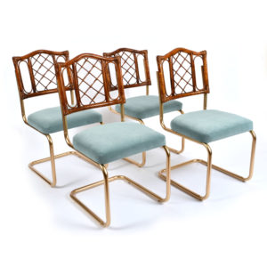 Vintage 1970s Rattan and Gold Dining Chairs with Blue Velvet Seats