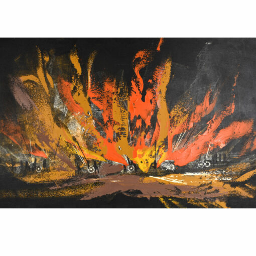 Vintage 1960s mid-century modern abstract fire scene painting by Rutten. Dynamic orange, yellow and brown brush strokes with primitive figures.