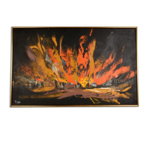Mid Century Modern Black Orange and Yellow Landscape Painting by Rutten