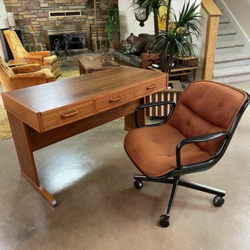 Danish Teak Desk by Vi-Ma with Hidden Filing Cabinet Inside