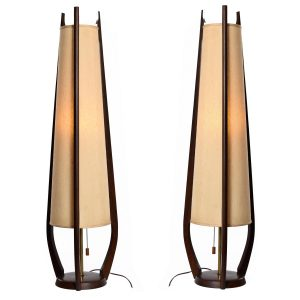 Pair of Vintage Modeline Sculpted Spire Cone Shade Walnut Table Lamp