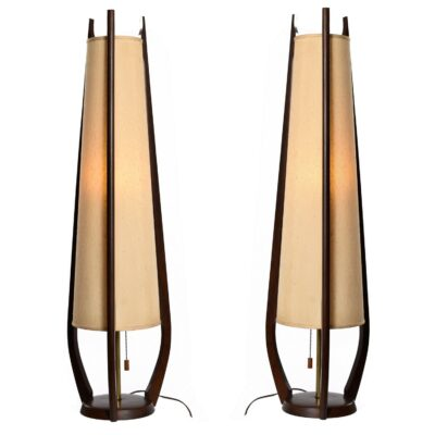 Mid Century Modern Modeline Cone Shaped Walnut Table Lamps