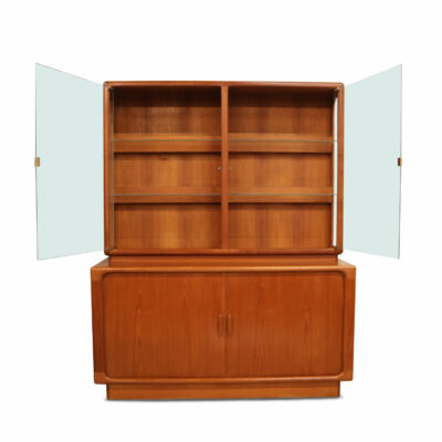 Vintage Dyrlund Danish Modern teak china cabinet with lighted display.