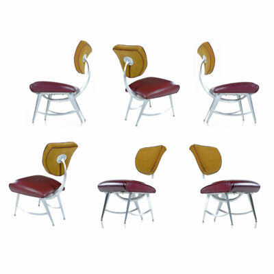 Disney Quest Aluminum Armillary Chair by Jordan Mozer in Gold and Burgundy