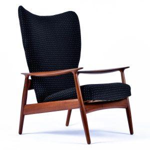 Norwegian Teak Wingback Recliner Lounge Chair by K. Rasmussen for Peter Wessel
