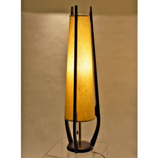 Mid Century Modern Modeline Cone Shaped Walnut Table Lamps