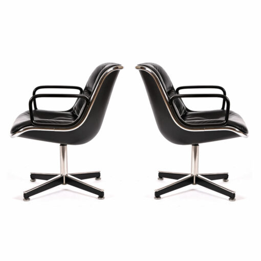 black leather Charles Pollock for Knoll Executive Chairs