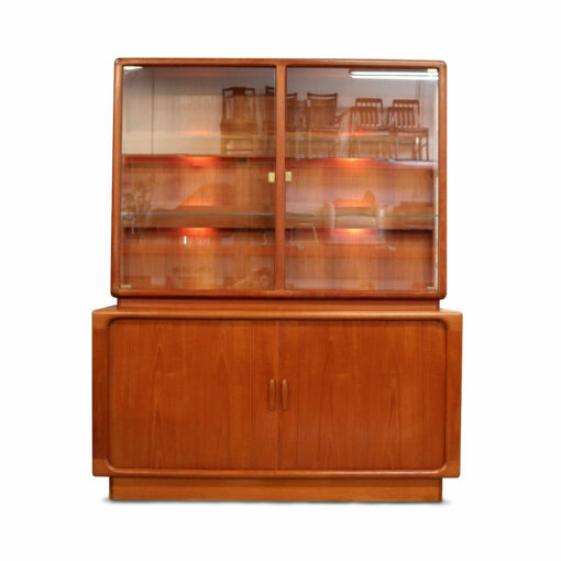 Vintage Dyrlund Danish Modern teak china cabinet with lighted display.