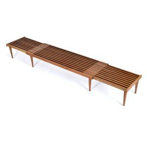 John Keal Expanding Mid-Century Modern Slat Bench Coffee Table