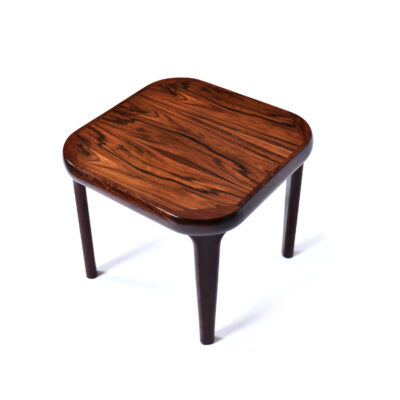 Vintage Danish Modern end table with a rounded square top. Exceptional quality construction on this professionally refinished mid-century modern table.