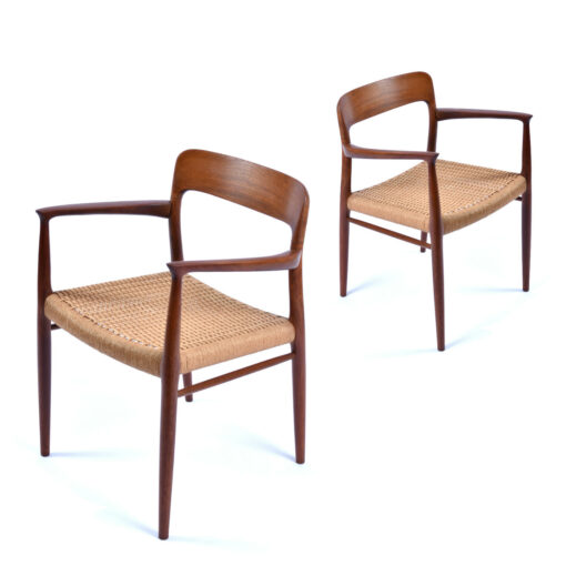 Danish Modern teak dining chairs with roped seats by Niels Otto Moller for J.L. Moller