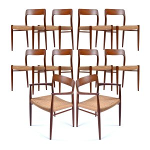 Set of 10 Roped Seat Danish Teak Dining Chairs by Niels Otto Moller