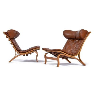 Beech Wood Arne Norell Skandi Chair Set in Tufted Cognac Leather Made in Sweden
