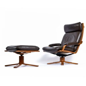 Vintage Westnofa Brown Leather Scandinavian Sling Recliner Chair with Ottoman