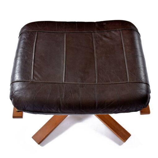 Westnofa Scandinavian leather recliner chair with ottoman