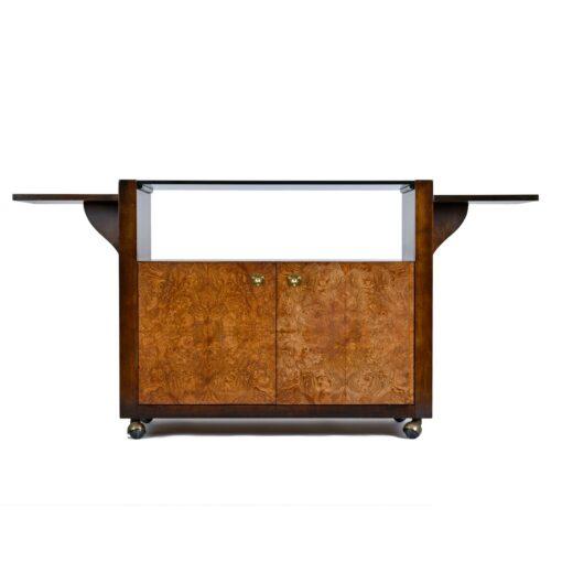 Vintage Burl Wood and Brass Campaign Bar Cart Server Dry Bar