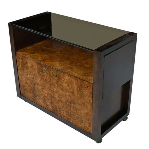 Campaign Burl Wood Bar Cart Server Cart with Brass hardware and smoked glass top