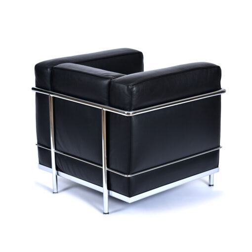 Le Corbusier Black Leather LC2 Chair by Cassina Made in Italy