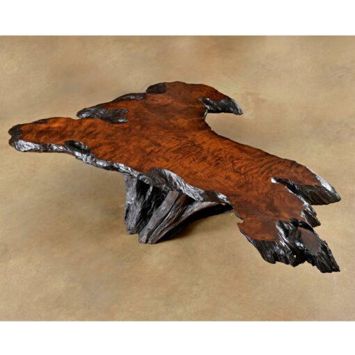cypress root live edge wood slab coffee table