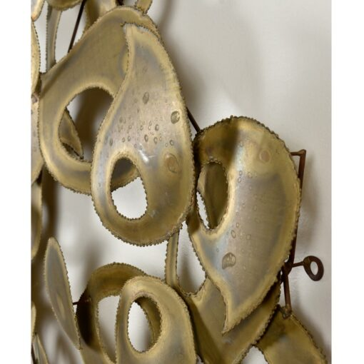 Signed Brutalist Torch Cut Metal Wall Sculpture