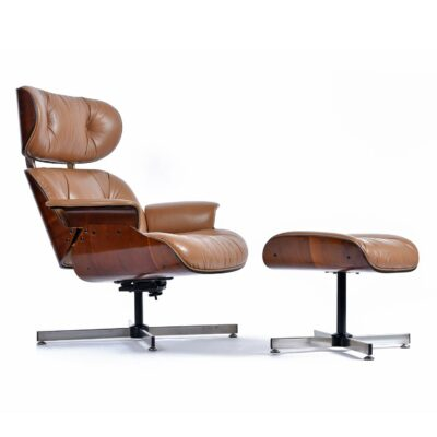 Beige Plycraft Lounge Chair and Ottoman in Walnut Wood