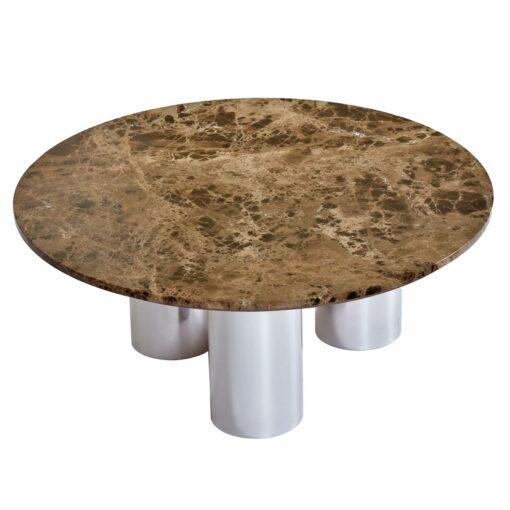 round marble coffee table, vintage 1970s, situated on three polished aluminum pedestal legs