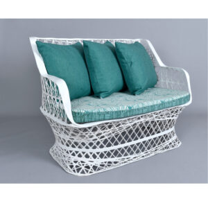 Reversible Cushion Russell Woodard Spun Fiberglass Vintage Outdoor Loveseat Couch