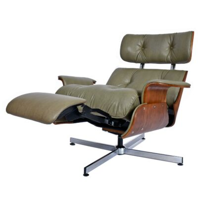 mid-century modern Plycraft recliner with built-in foot rest