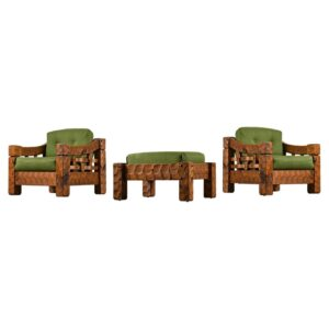 Pair of Green Solid Pine Rustic Farmhouse Armchairs with Ottoman