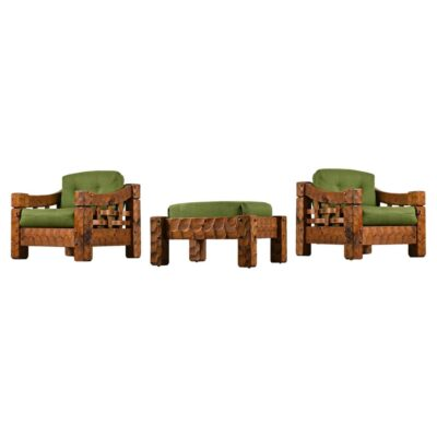 Green solid pine farmhouse chairs with ottoman
