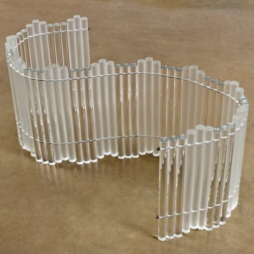 Frosted and Clear Tubular Lucite Acrylic Curved Coffee Table Base