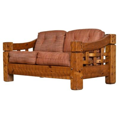 Null solid pine loveseat sofa