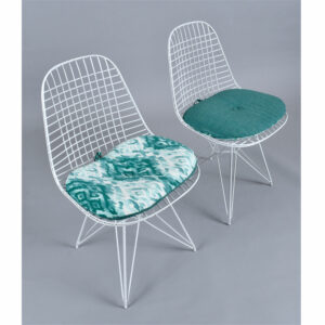 Pair of Charles Eames for Herman Miller DKR Wire Chairs with Custom Reversible Cushions