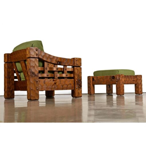 Solid pine green farmhouse armchairs by Null with matching ottoman