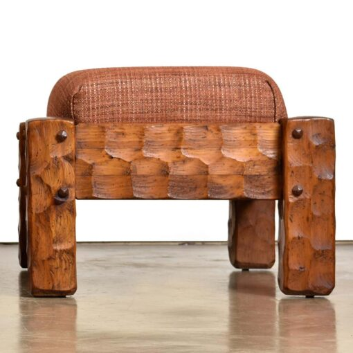 farmhouse pine armchairs with ottomans by Null