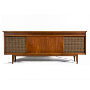 Mid-Century Modern Console Stereo Cabinet Credenza with Original Speakers