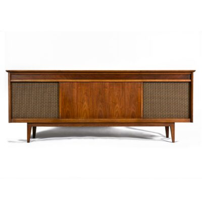 Working mid-century modern stereo cabinet credenza with speakers