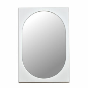Broyhill Chapter One White Modern Rectangular Wall Mirror with Oval Inset