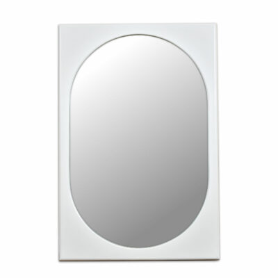 Broyhill Chapter One White Modern wall Mirror Rectangular with Oval inset
