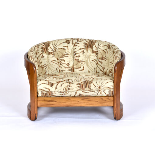 Vintage 1980s Solid Oak Barrel Chair with Matching Ottoman by Howard Furniture