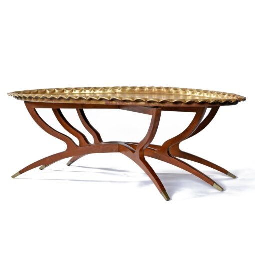 Moroccan Style South Asian Brass Tray Coffee Table with Spider Leg