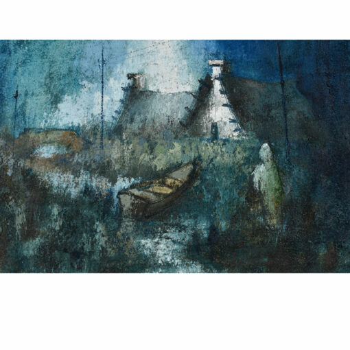 Nautical and Figural Village Painting in White and Blue Vintage 1972