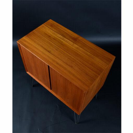 Mid Century Modern Danish Teak CADO Record Cabinet on Hairpin Legs