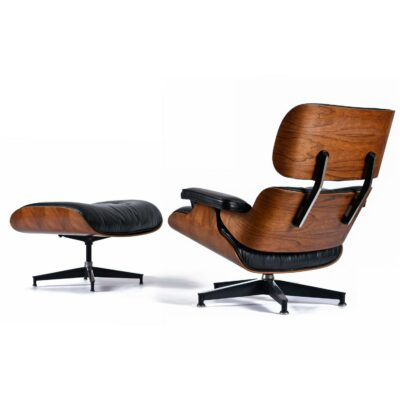 1977 Vintage Herman Miller Eames Chair in Rosewood and Black Leather