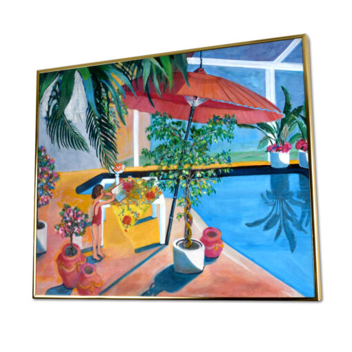 Vintage 1986 painting of a child beside a swimming pool.