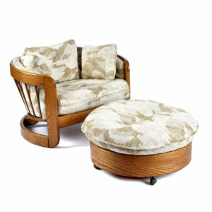 1980s Wood Frame Howard Solid Oak Barrel Shaped Nineteen-Laties Tub Chair and Ottoman