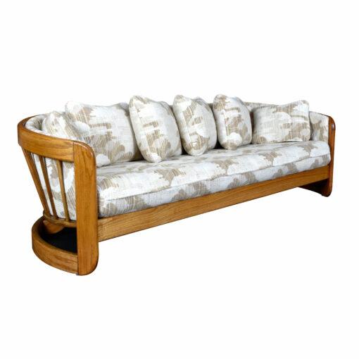 Howard Furniture Crescent Shaped Wood Frame Curved Spindle Back Sofa